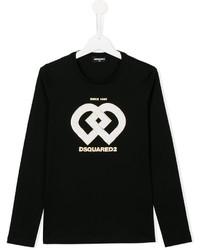 T-shirt à manche longue imprimé noir DSQUARED2