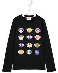 T-shirt à manche longue imprimé noir Fendi