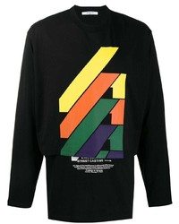 T-shirt à manche longue imprimé noir Givenchy