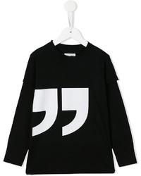 T-shirt à manche longue imprimé noir nununu