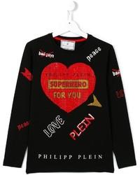 T-shirt à manche longue imprimé noir Philipp Plein