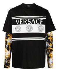T-shirt à manche longue imprimé noir Versace