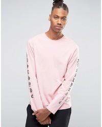 T-shirt à manche longue imprimé rose