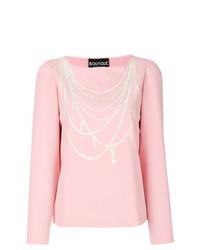 T-shirt à manche longue imprimé rose Boutique Moschino