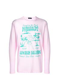 T-shirt à manche longue imprimé rose DSQUARED2