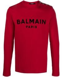 T-shirt à manche longue imprimé rouge Balmain