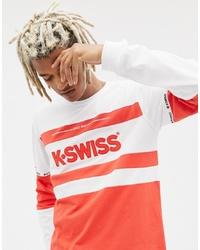 T-shirt à manche longue imprimé rouge K-Swiss