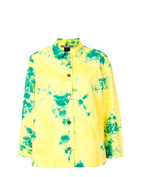 T-shirt à manche longue imprimé tie-dye jaune
