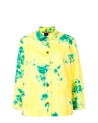 T-shirt à manche longue imprimé tie-dye jaune Suzusan