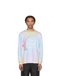 T-shirt à manche longue imprimé tie-dye multicolore