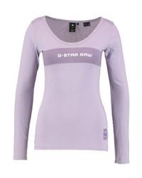 T-shirt à manche longue imprimé violet clair