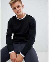 T-shirt à manche longue noir et blanc ASOS DESIGN