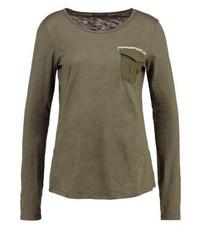 T-shirt à manche longue olive Sisley