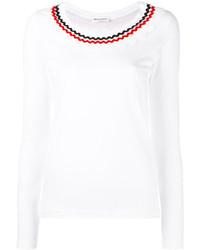 T-shirt à manche longue orné blanc Sonia Rykiel