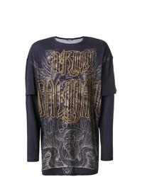 T-shirt à manche longue orné bleu marine Balmain