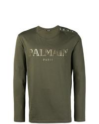T-shirt à manche longue orné olive Balmain