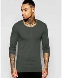 T-shirt à manche longue vert foncé
