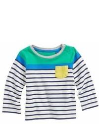 T-shirt à rayures horizontales blanc et bleu marine