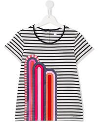 T-shirt à rayures horizontales blanc et noir Burberry