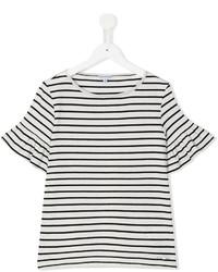 T-shirt à rayures horizontales blanc et noir Simonetta