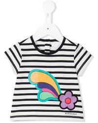 T-shirt à rayures horizontales blanc Burberry