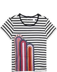 T-shirt à rayures horizontales bleu marine et blanc