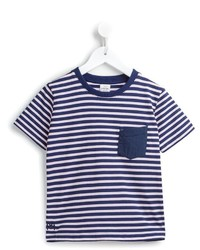 T-shirt à rayures horizontales bleu marine
