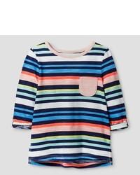 T-shirt à rayures horizontales multicolore