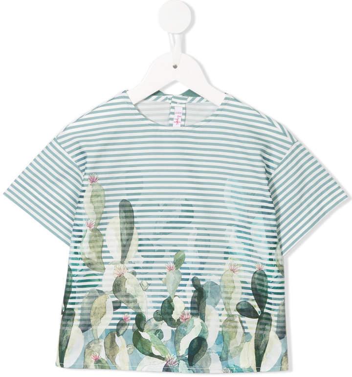 T-shirt à rayures horizontales vert Il Gufo