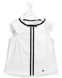 T-shirt à rayures verticales blanc Armani Junior