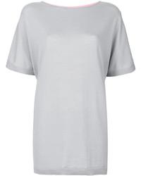 T-shirt en cuir gris Salvatore Ferragamo