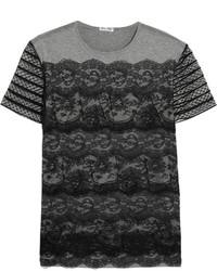 T-shirt en dentelle gris Miu Miu