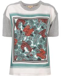 T-shirt en soie imprimé gris Burberry