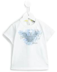 T-shirt imprimé blanc Armani Junior