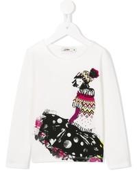 T-shirt imprimé blanc Junior Gaultier