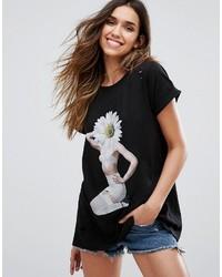 T-shirt imprimé noir Wildfox Couture