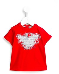 T-shirt imprimé rouge Armani Junior