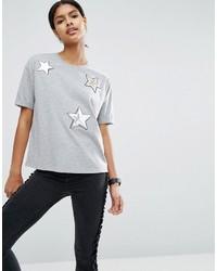 T-shirt pailleté à étoiles gris Asos