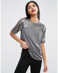 T-shirt pailleté argenté Asos