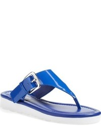 Tongs en cuir bleues