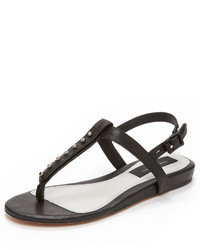 Tongs en cuir noires Rag & Bone