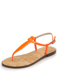 Tongs en cuir orange