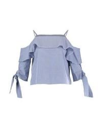 Top à épaules dénudées à carreaux bleu clair Topshop