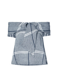 Top à épaules dénudées à carreaux gris Suno