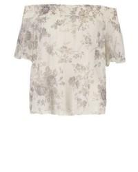 Top à épaules dénudées à fleurs blanc Ralph Lauren