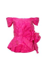 Top à épaules dénudées à fleurs fuchsia Bambah