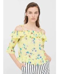 Top à épaules dénudées à fleurs jaune