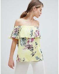 Top à épaules dénudées à fleurs jaune Vila