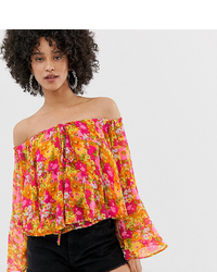 Top à épaules dénudées à fleurs multicolore Sacred Hawk