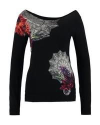 Top à épaules dénudées à fleurs noir Desigual